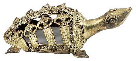 Brass Carved Tortoise - Dhokra Tribal Art
