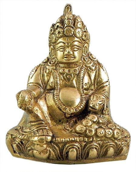Buddhist Kubera Brass Statue 3 X 2 75 X 2 Inches