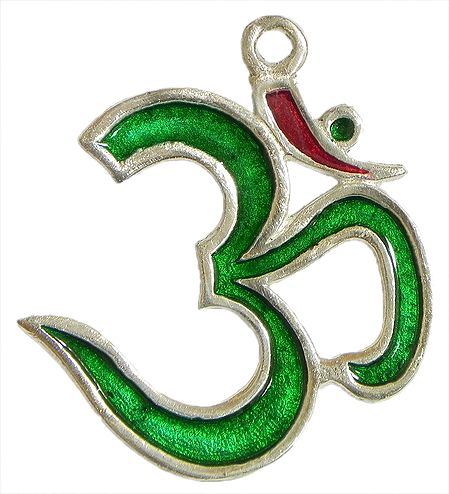 Green Lacquered on Brass Om