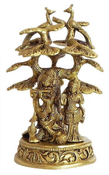 Radha Krishna Standing Under Kadamba Tree