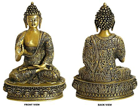 Buddha in Abhaya Mudra (Robes Decorated with the Scenes from the Life of Buddha)