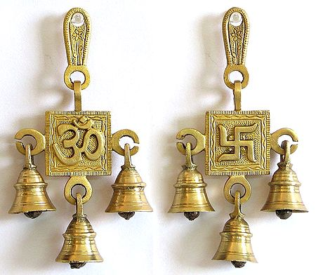 Hanging Bell With Om And Swastika Auspicious Hindu