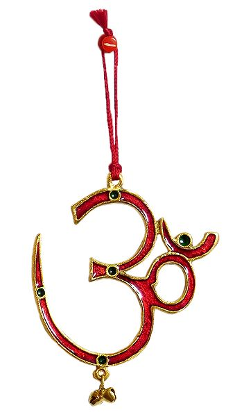 Red Lacquered on Brass Om - Wall Hanging