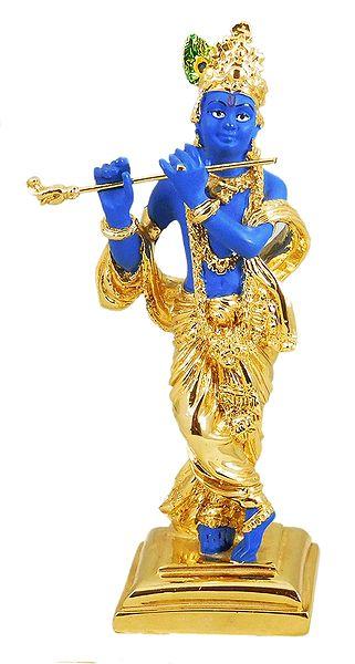 Murlidhara Krishna - Gold Plated Statue