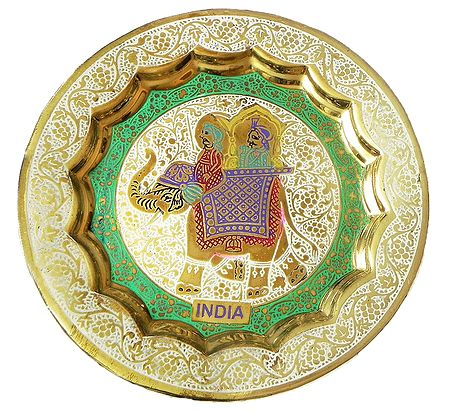 Meenakari Brass Plate with King on Elephant Design - Wall Hanging