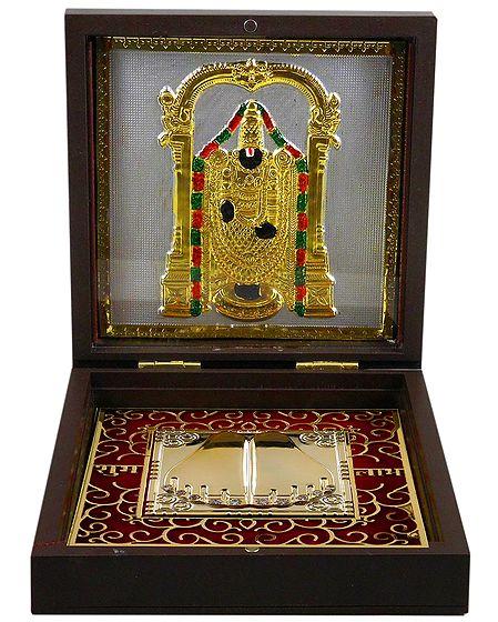 Lord Venkateshwara with Charan - Gold Plated Statue