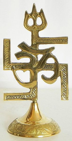 Om Swastika With Trident Auspicious Hindu Symbols