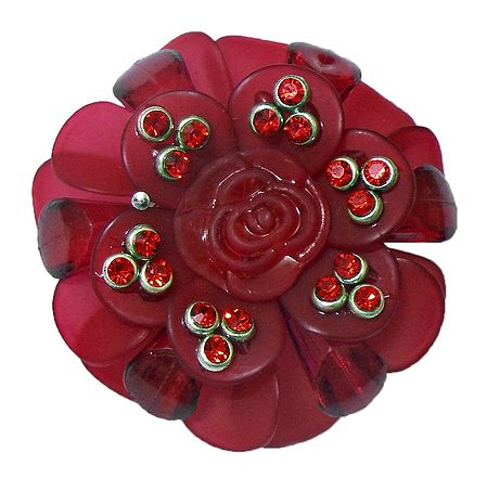 Stone Studded Red Acrylic Flower Brooch