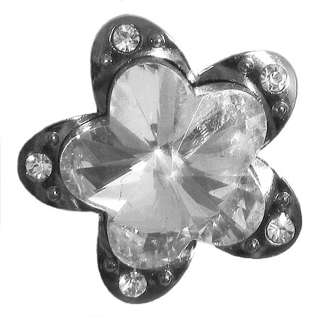 Stone Studded Flower Brooch