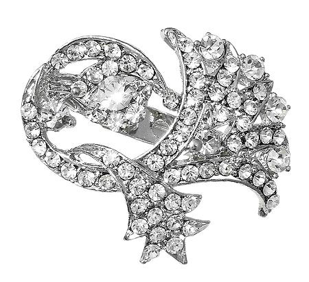 Faux Zirconia Studded Brooch with Chain