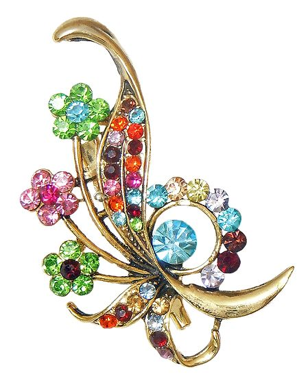 Multicolor Stone Studded Metal Flower Bouque Brooch