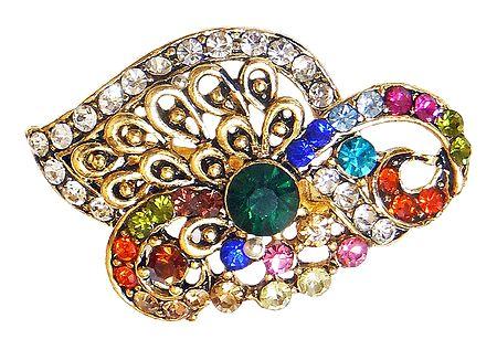 Multicolor Stone Studded Metal Brooch