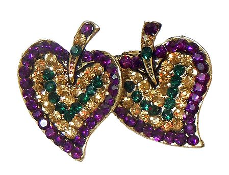 Purple and Yellow Stone Studded Metal Leaf Brooch