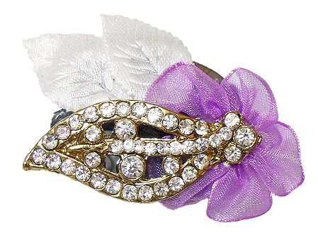 White Stone Studded Metal Leaf Brooch with Cloth Flower