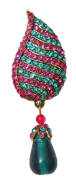 Magenta and Cyan Stone Studded Metal Leaf Brooch