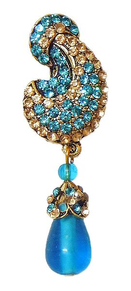 Cyan and Yellow Stone Studded Metal Leaf Brooch