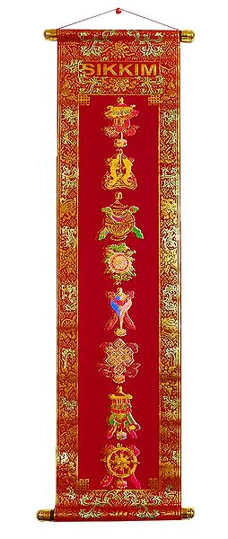 8 Buddhist Symbols - Rubberized Paint on Velvet Cloth - Wall Hanging