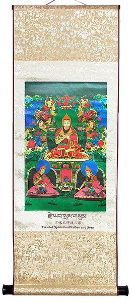 JE Tsongkapa with his Chief Disciples Gyaltsab Je and Khedrup Je - Wall Hanging
