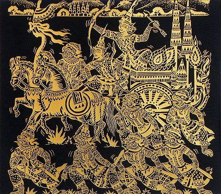 Rama, Lakshmana and Hanuman with their Army