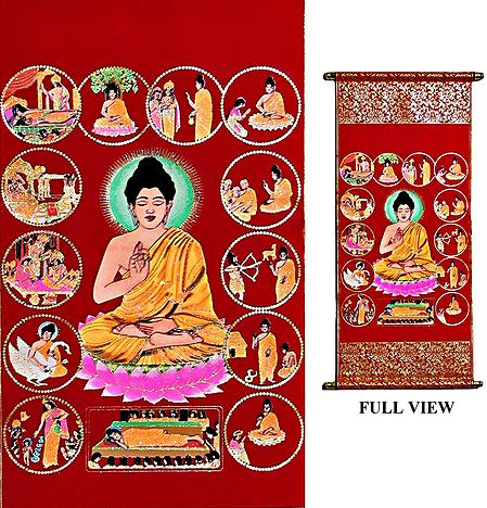 Tales from the Life of Buddha - (Tibetan Thangka)Wall Hanging