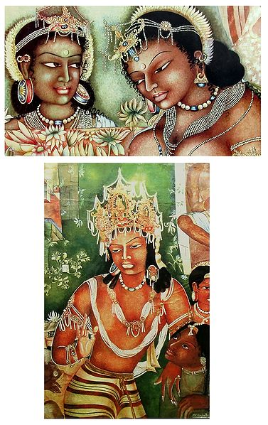Vajrapani and Black Princess with Attendent - Set of 2 Reprint of Ajanta Cave Painting, India