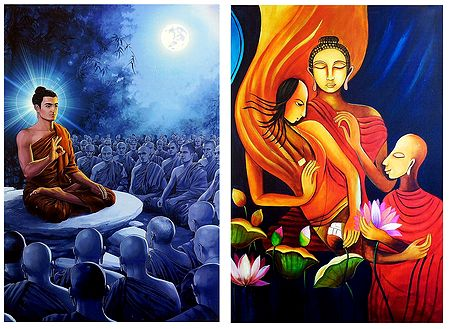 Lord Buddha and Amprapali Finds Peace in Buddha - Set of 2 Posters