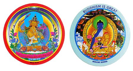 Manjushri and Medicine Buddha - Set of 2 Buddhist Stickers