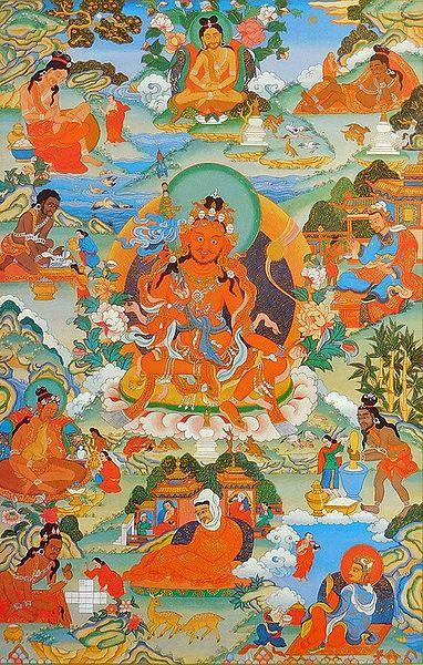 Guru Nyi-ma 'Od-zer, One of the Manifestation of Padmasambhava, Surrounded by Siddhas of the Vajrayana