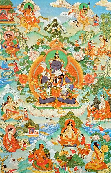 Guru mTsho-skyes rDo-rje, One of the Manifestation of Padmasambhava, Surrounded by Siddhas of the Vajrayana