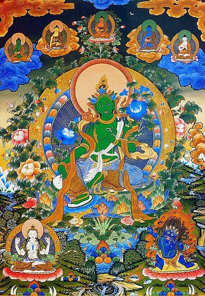 Green Tara Surrounded by Buddha
