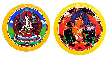 White Tara and Manjushri - Set of 2 Buddhist Stickers