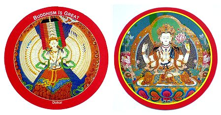 Ushnishasitatapatra and Chenregiz - Set of 2 Buddhist Stickers