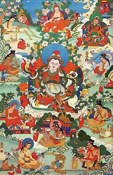 Guru Blo-ldan mChog-sred - One of the Manifestations of Padmasambhava, Surrounded by Siddhas of theVajrayana