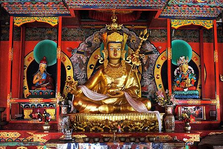 Guru Padmasambhava with Other 2 Deities in Dichen Choling Gompa - South Sikkim, India