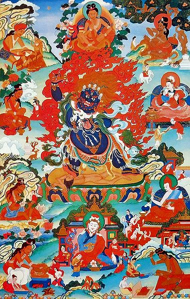 Guru Seng-gesGra-sgrogs, One of the Manifestation of Padmasambhava, Surrounded by Siddhas of the Vajrayana
