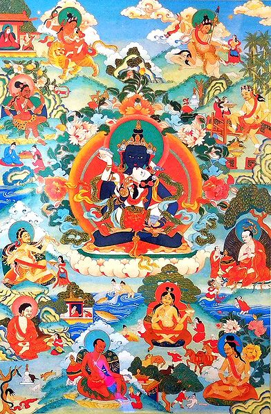 Guru mTsho-skyes rDo-rje - One of the Manifestations of Padmasambhava, Surrounded by Siddhas of theVajrayana