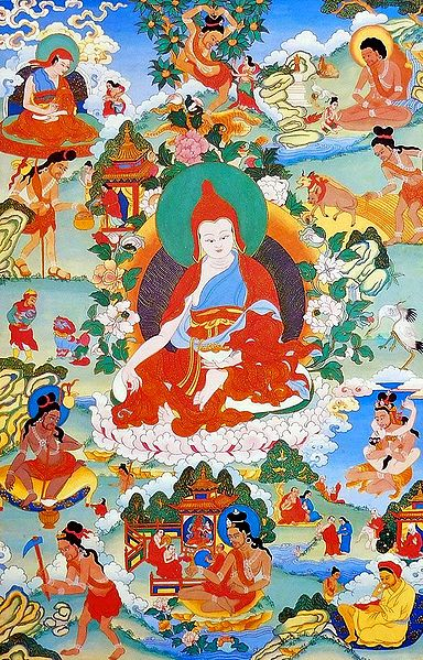 Guru Padmasambhava, One of the Manifestation of Padmasambhava, Surrounded by Siddhas of the Vajrayana