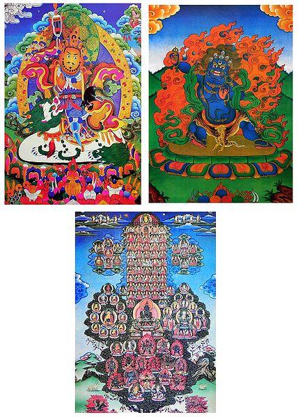 Blue Mahakala, Vaishravana, Gelugpa Refuge Tree - Set of 3 Thangka Posters