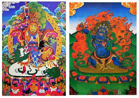 Blue Mahakala, Vaishravana - Set of 2 Thangka Posters
