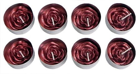 Set of Eight Floating Red Rose Wax Candles in Metal Container