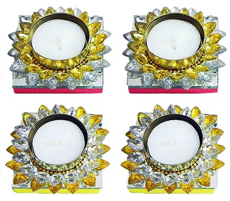 Set of Four Floating Wax Candles in Metal Container Decorated with White and Yellow Glass Stones