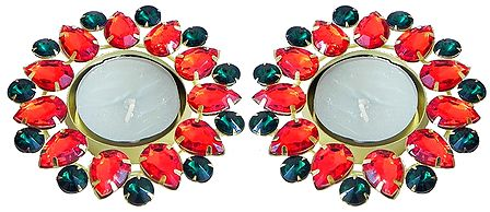 Set of Two Floating Wax Candles in Metal Container Decorated with Red and Green Cut Glass Stones