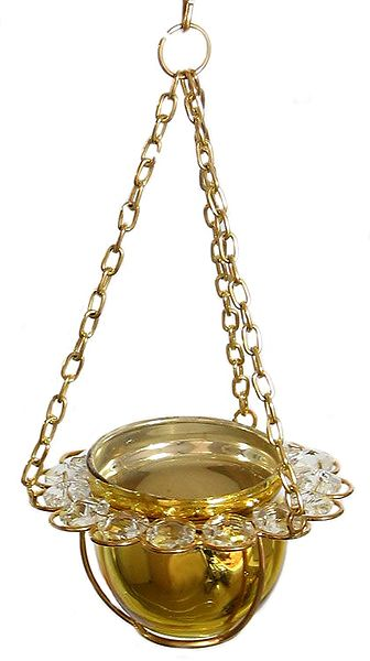 Metal Golden Bowl with White Crystal Hanging Candle Holder
