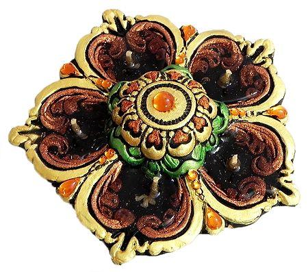 Hand Painted Acrylic Stone Studded Panchamukhi Flower Diya with Gel Wax Candle