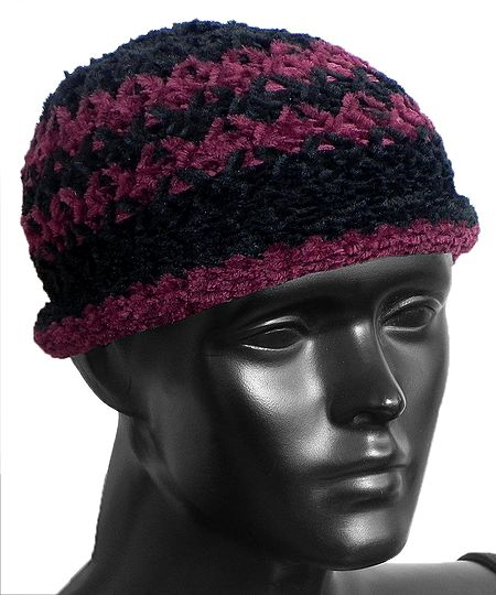 Ladies Hand Knitted Black with Light Maroon Stripe Beanie Woolen Cap