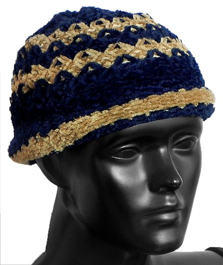 Ladies Hand Knitted Black with Light Brown Stripe Beanie Woolen Hat