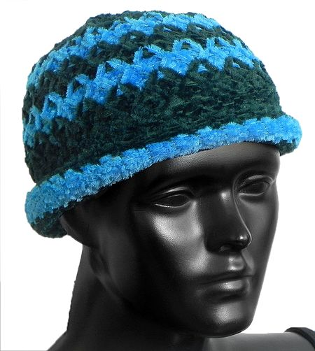 Ladies Hand Knitted Dark Green with Cyan Blue Stripe Beanie Woolen Hat