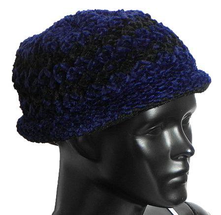 Ladies Hand Knitted Black and Blue Woolen Beanie Cap