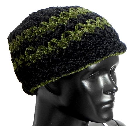 Ladies Hand Knitted Black and Green Woolen Beanie Cap