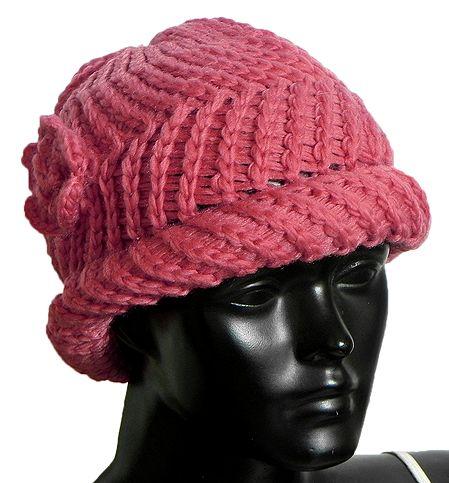 Ladies Hand Knitted Dark Peach Woolen Beanie Cap